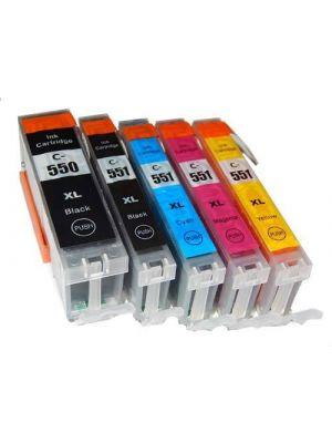 Canon PGI-550/CLI551 XL multipack 5 stuks met chip (KHL huismerk) PGI550XLCLI551XLMP5-KHL