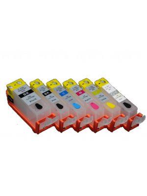 Hervulbare lege patronen voor Canon PGI-525Bk/CLI-526Bk/C/M/Y/GY met auto reset chips (6 stuks) 11003