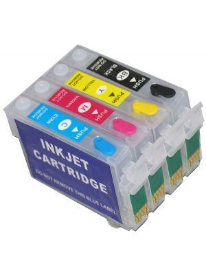 Hervulbare lege patronen voor Epson T1281-1284/T1291-1294/T1301-1304 met auto reset chip (4stuks) 9208