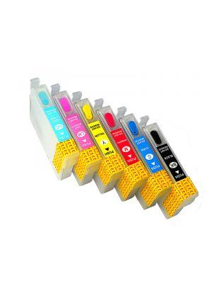 Hervulbare lege patronen voor Epson T0801-T0806 met auto reset chip (6stuks) 6001